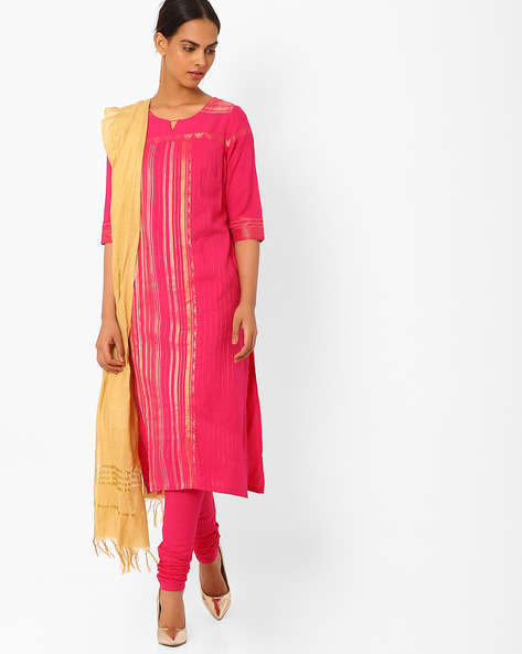 Churidar Kurta With Dupatta By AURELIA ( Pink )