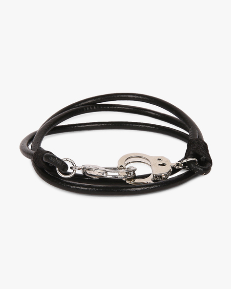 Faux-Leather Handcuff Bracelet By Eristona Man ( Black )