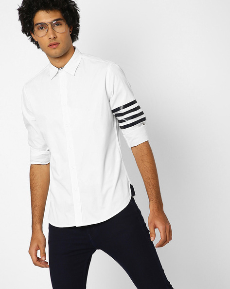 Regualar Fit Shirt With Placement Stripes On Sleeve By Blue Saint ( White )