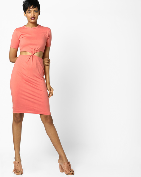Bodycon Dress With Cut-Outs By AJIO ( Pink )