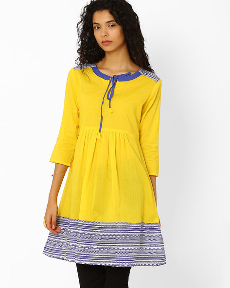 Jaipuri Print Kurta By AJIO ( Yellow )