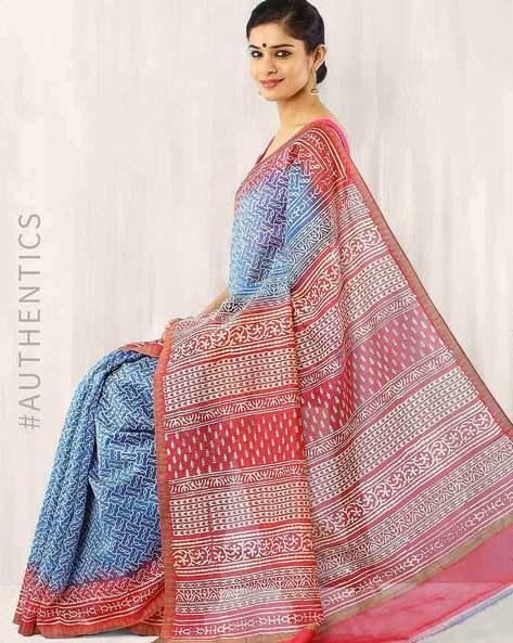 Bagru Print Chanderi Silk Saree By Indie Picks ( Blue )