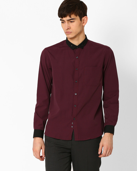 Striped Button-Down Shirt With Patch Pocket By NETWORK ( Maroonburg )