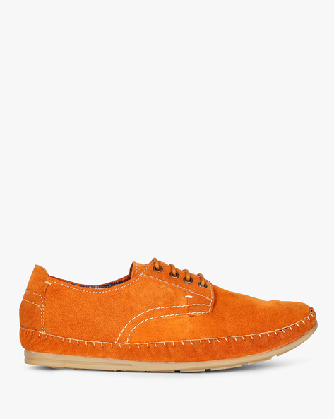 Panelled N9-Treated Lace-Up Shoes By AJIO ( Camel )