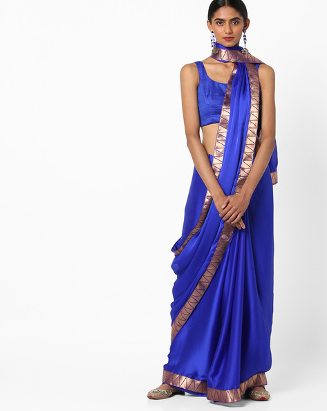 Chiffon Saree With Contrast Border By Vastrangi ( Royalblue )
