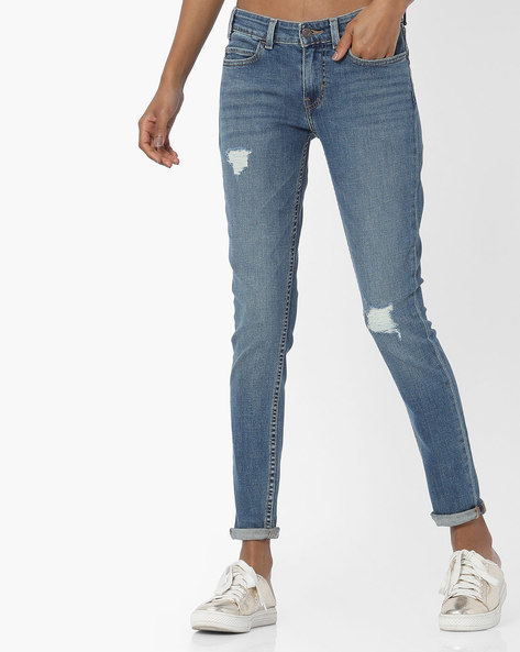 Skinny Distressed Jeans By LEVIS ( Blue ) - 460098888002