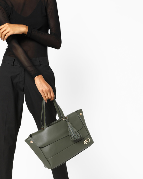 Satchel Bag With Detachable Sling By E2O ( Green )