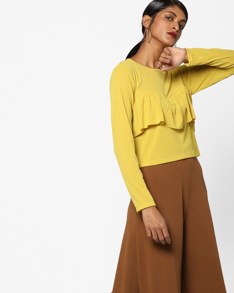 Ribbed Top With Ruffle Panel By Ginger By Lifestyle ( Lime )