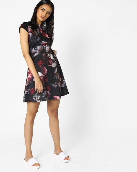 Floral Print Fit & Flare Dress By PE WW Evening ( Black )