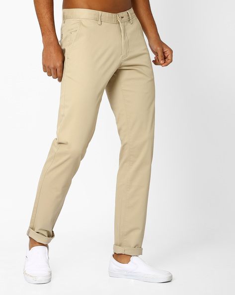 Tapered Fit Flat-Front Trousers By BASICS ( Beige )