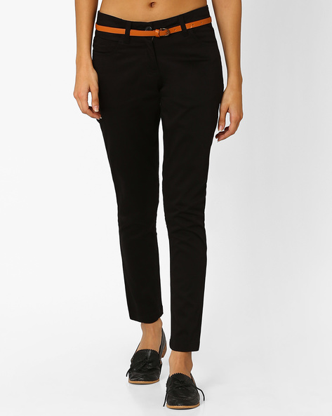 Ankle-Length Trousers With Belt By Honey By Pantaloons ( Black )