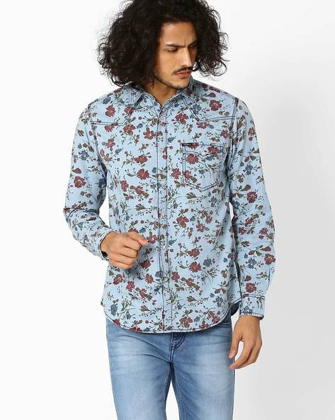 Floral Print Regular Fit Shirt By Pepe Jeans ( Blue )