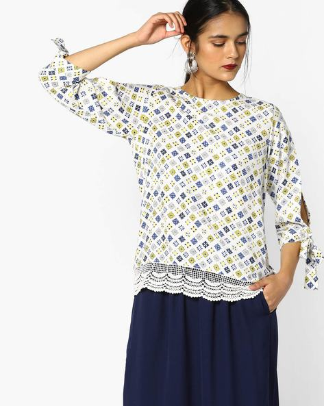 Printed Top With Split Sleeves By Project Eve WW Casual ( Offwhite )