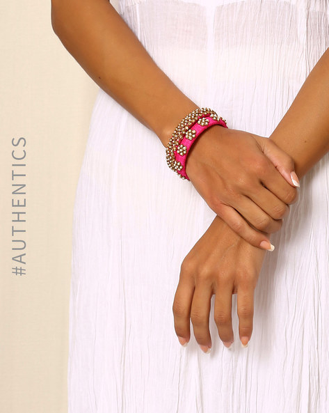 Pure Silk Hand Embroidered Zardosi Paired Bangles By Indie Picks ( Pink )