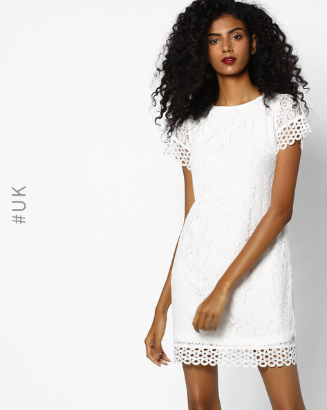 Floral Lace Shift Dress By Rare London ( Cream )