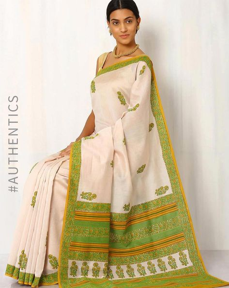 Handblock Print Chanderi Saree By Indie Picks ( Green )