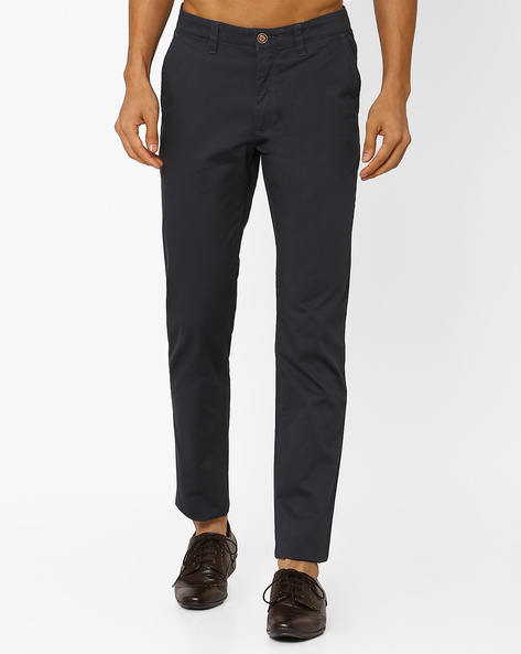 Slim Fit Flat-Front Trousers By Wills Lifestyle ( Grey )