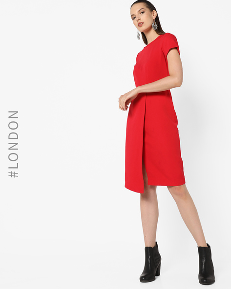 Sheath Dress With Overlapping Front By Closet London ( Red )