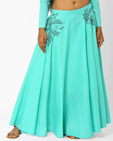 Maxi Skirt With Floral Motifs By AJIO ( Teal )