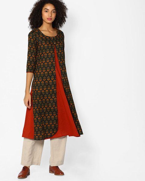 Printed Layered Kurta By Melange By Lifestyle ( Green )