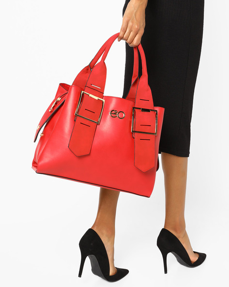 Satchel Bag With Buckle Embellished Handles By E2O ( Red )