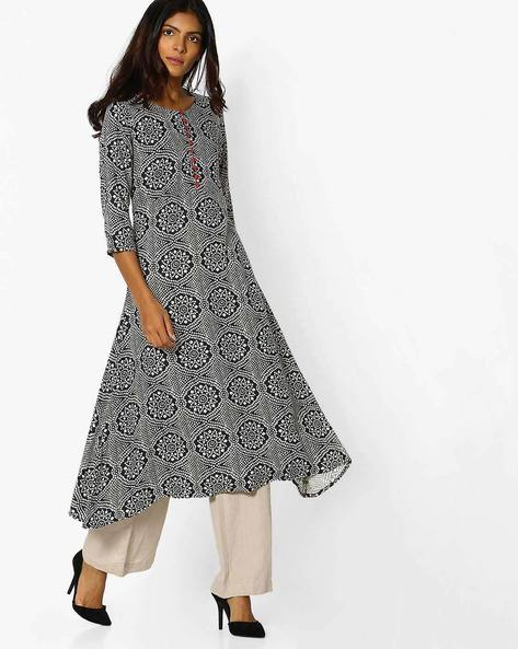 Printed Flared Kurta With High-Low Hem By AVAASA MIX N' MATCH ( Navy )
