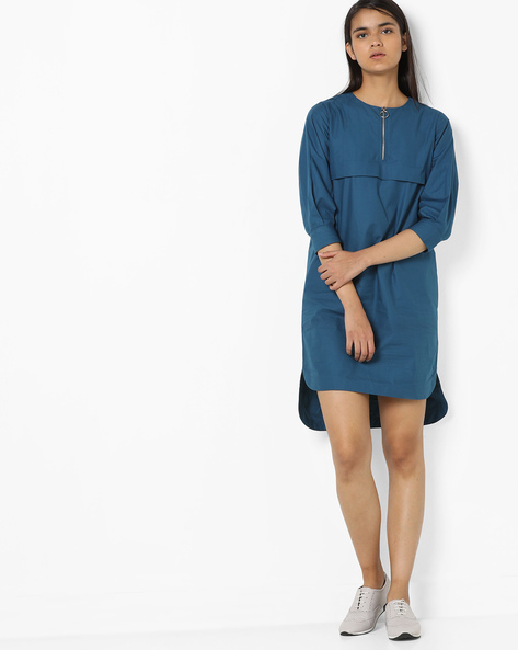 High-Low Shift Dress By AJIO ( Teal )