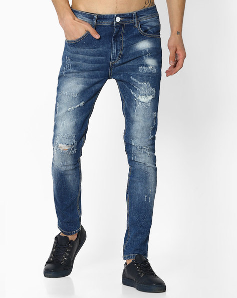 Skinny Fit Distressed Jeans By ADAMO LONDON ( Blue )