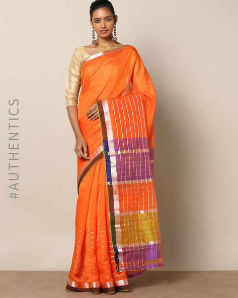 Handloom Mangalagiri Cotton Silk Saree With Zari Stripes By Indie Picks ( Orange )