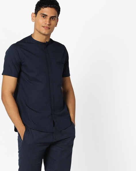 Shirt With Concealed Button Placket By AJIO ( Navy )