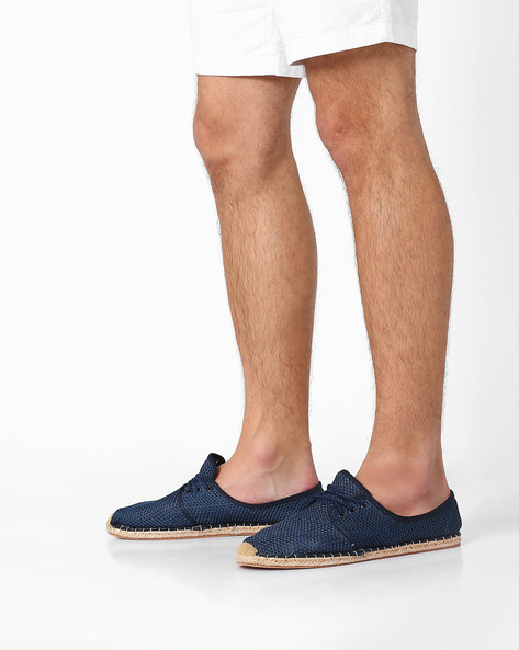 Perforated Lace-Up Espadrilles By AJIO ( Navy )
