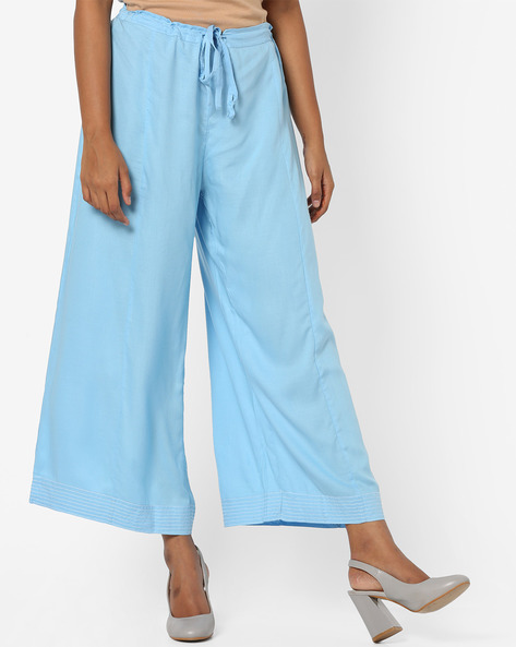 Mid-Rise Palazzos With Drawstring Waist By Biba ( Blue )