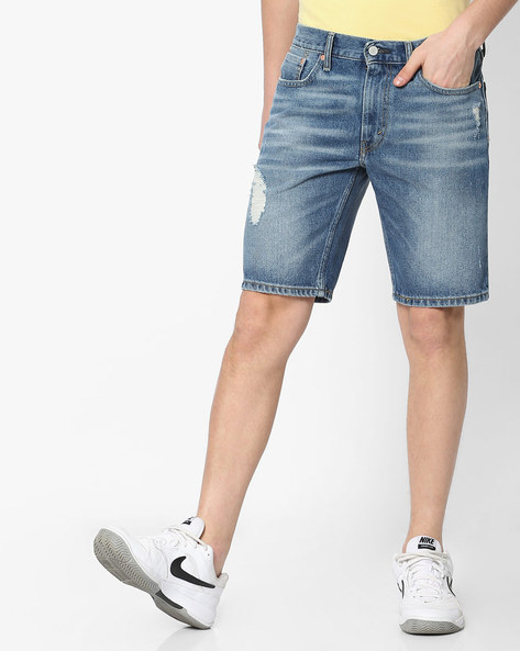 Lightly Washed Distressed Denim Shorts By LEVIS ( Blue )