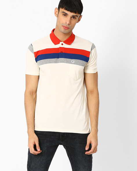 Polo T-shirt With Patch Pocket By DUKE ( White )