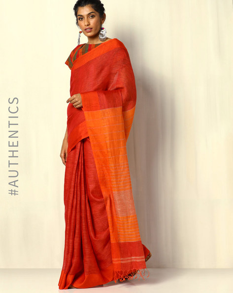 Handloom Pure Linen Saree With Fringes By Indie Picks ( Red )