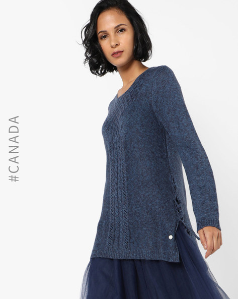 High-Low Pullover With Patterned Weave By Point Zero ( Navy )
