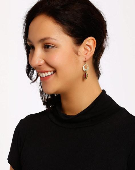Gold-Plated Dangler Earrings By Shabnam Gitanjali ( Maroon )