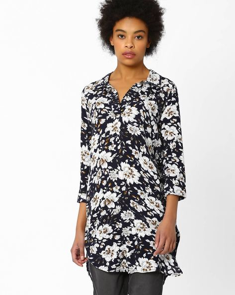 Floral Print High-Low Tunic By FIG ( Blue )