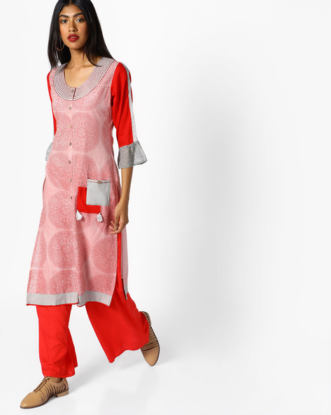 Printed Straight Kurta With Pockets By SOCH ( Red )