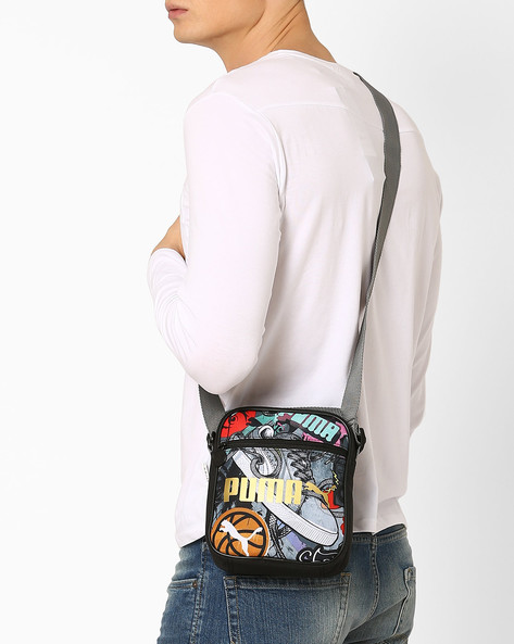 Graffiti Print Campus Portable Sling Bag By Puma ( Black )