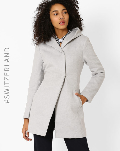 Hooded Trench Coat By TALLY WEiJL ( Grey )