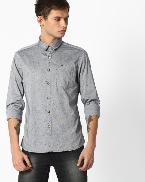 Printed Shirt With Patch Pocket By FLYING MACHINE ( Greymelange )