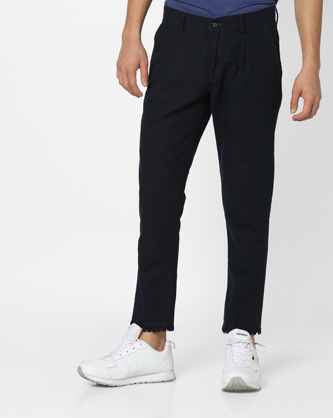 Pleated Ankle-Length Trousers By AJIO ( Navy )