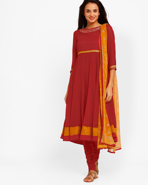Anarkali Churidar Kurta With Dupatta By AJIO ( Red )
