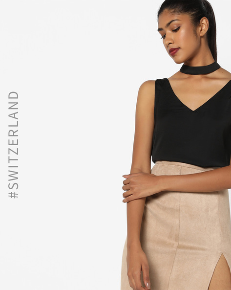 V-neck Top With Choker By TALLY WEiJL ( Black )