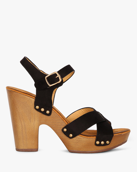 Criss-Cross Platform Sandals By MFT Couture ( Black )