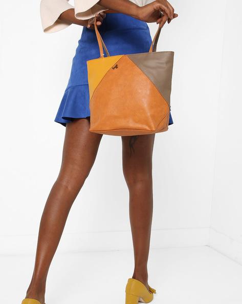 L Mixmatch Y G Dora Colourblock Tote Bag By BAGGIT ( Mustard )