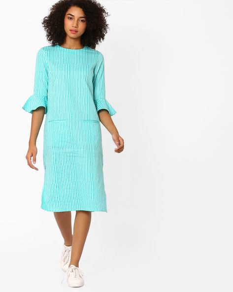 Midi Dress With Voluminous Sleeves By AJIO ( Turquoise )