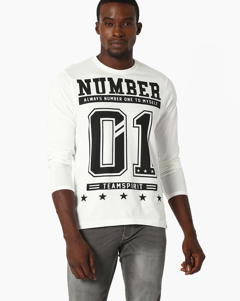 Graphic Print Crew-Neck Top By TEAM SPIRIT ( Offwhite )