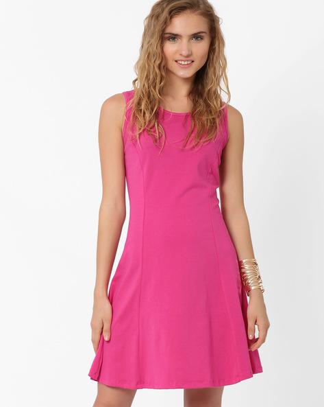 Sleeveless Swing Dress By AJIO ( Purple )